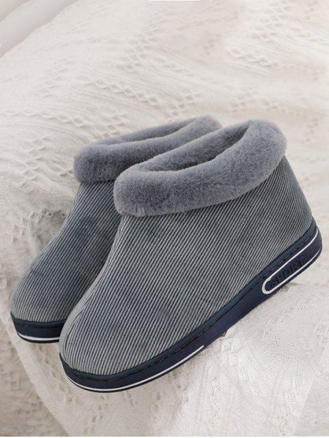 hot Fuzzy Collar Twill Snow Ankle Boots - GRAY EU 43 Mobile