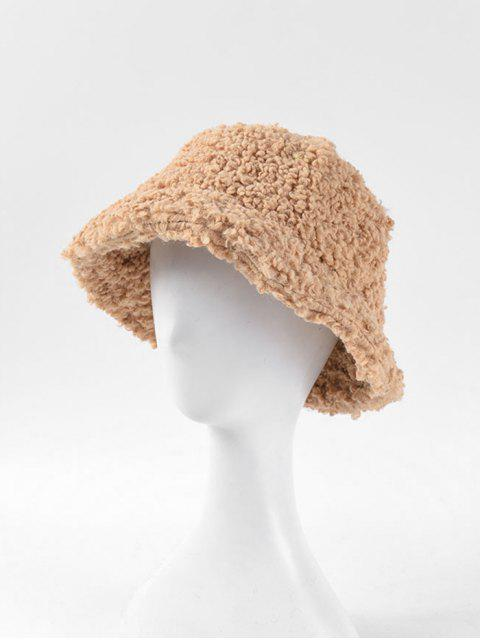new Solid Winter Lambswool Bucket Hat - BROWN SUGAR  Mobile