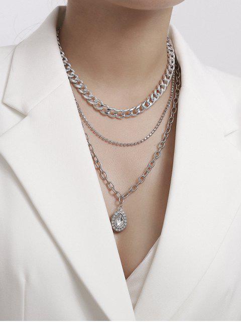 Горный хрусталь Капля воды Многослойное Цепное Ожерелье - Серебристый  Mobile