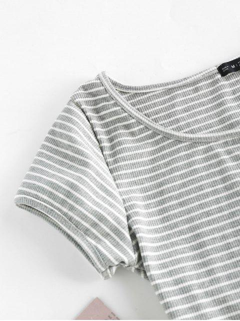 shop Striped Ribbed Crop Top - GRAY S Mobile