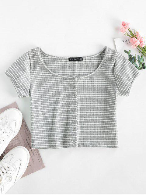 latest Striped Ribbed Crop Top - GRAY L Mobile
