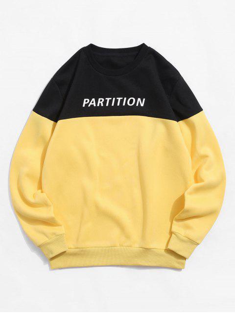 ZAFUL字母印花Colorblock休閒運動衫 - 亮黃的 XL Mobile
