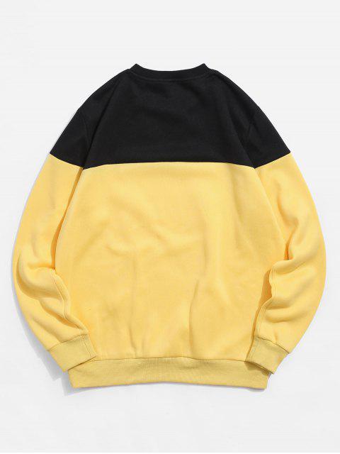 ZAFUL字母印花Colorblock休閒運動衫 - 亮黃的 2XL Mobile