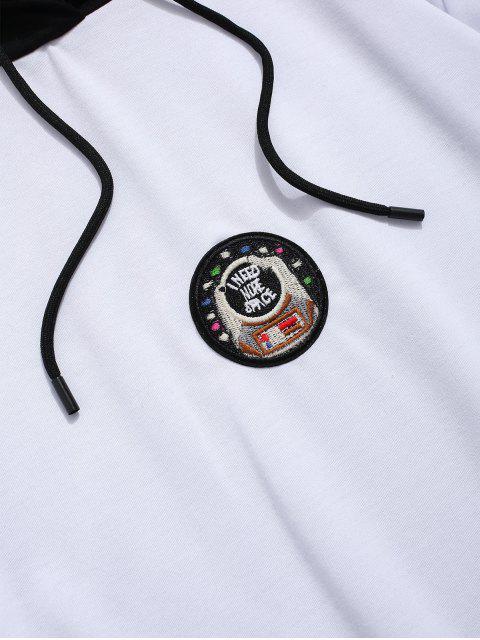 信件模式繡花休閒連帽衫 - 白色 L Mobile