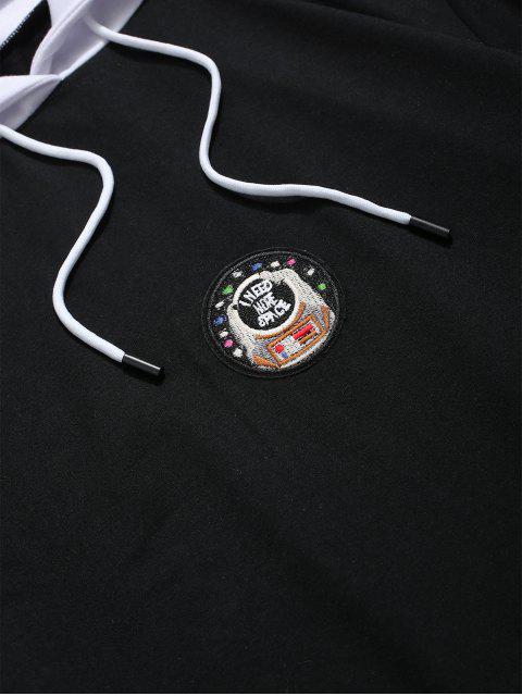 信件模式繡花休閒連帽衫 - 黑色 XL Mobile