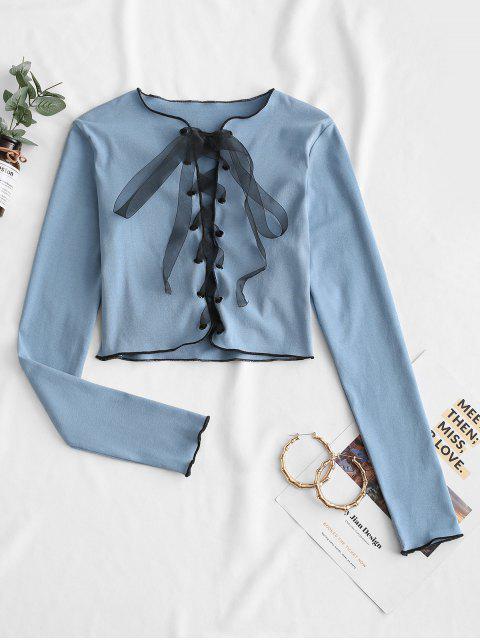 fashion Ribbon Lace-up Crop Top - BLUE KOI S Mobile