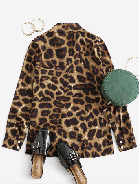 best Leopard Pocket Button Up Shirt - MULTI-A 2XL Mobile