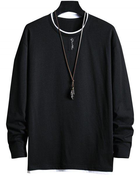 women Letter Pattern Faux Two Pieces Casual T-shirt - BLACK M Mobile
