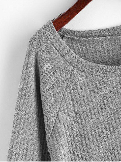 outfit Printed Raglan Sleeve Contrast Knitwear - GRAY M Mobile