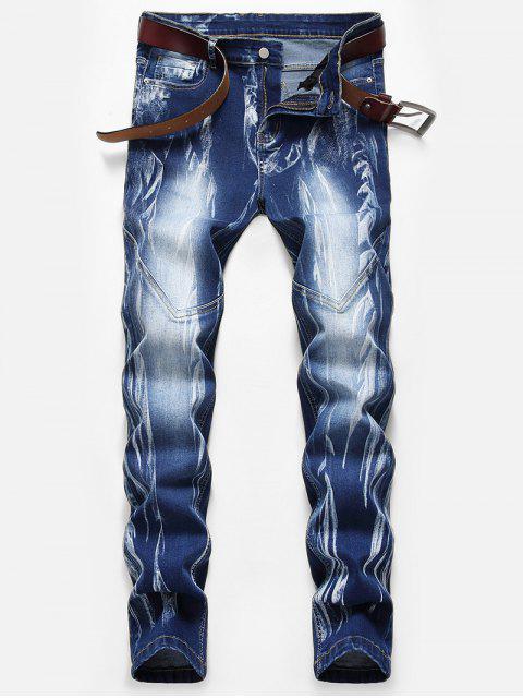 hot Stitching Design Print Zipper Fly Jeans - DENIM DARK BLUE 40 Mobile