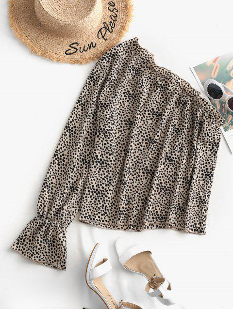 outfits ZAFUL Ditsy Dots Frilled Ruffle Cuff Blouse - MULTI L Mobile