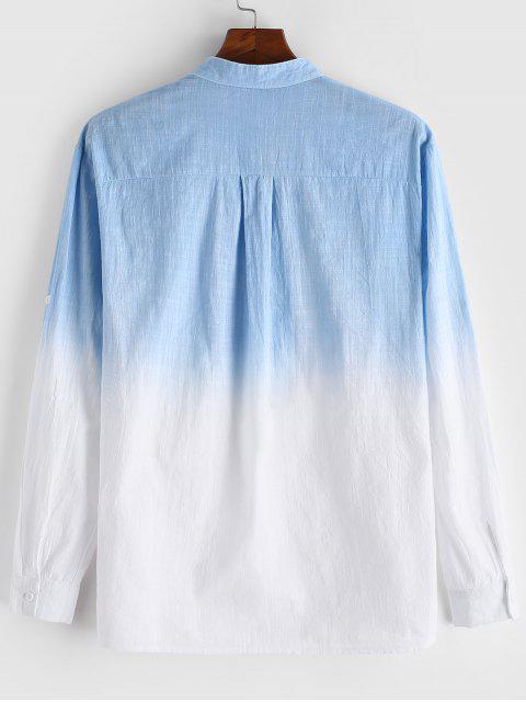 Camisa Casual de Manga Larga con Estampado Degradado - Celeste Ligero 2XL Mobile