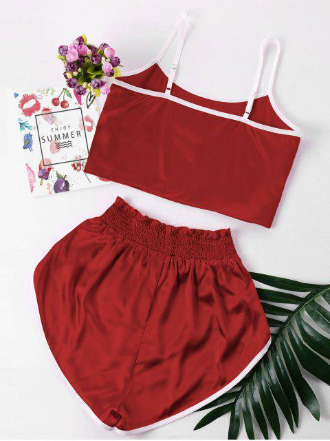 ladies Contrast Trim Cami and Shorts Set - RED WINE L Mobile