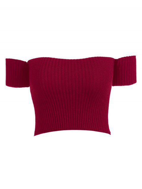 T-shirt Côtelé à Epaule Dénudée - Rouge Vineux Taille Unique Mobile