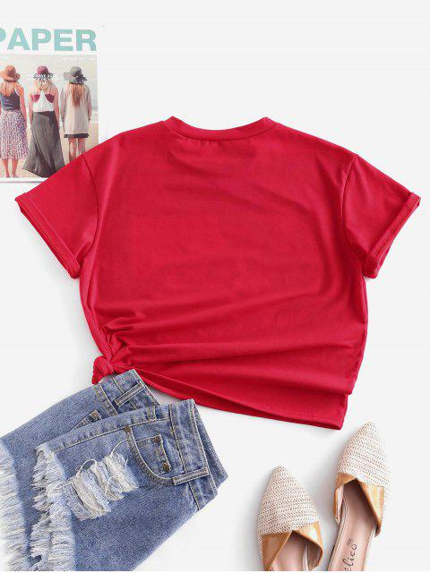 ladies ZAFUL Stars American Flag Graphic Basic Tee - LAVA RED S Mobile