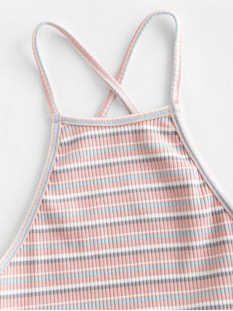 online ZAFUL Criss Cross Ribbed Stripes Cami Top - PINK L Mobile
