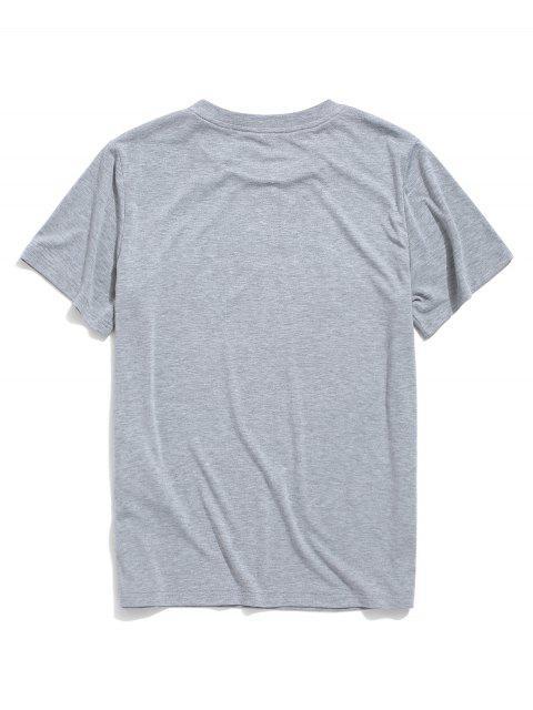 T-Shirt Stampata a Lettere Colorate con Maniche Corte di ZAFUL - Nuvola Grigia M Mobile