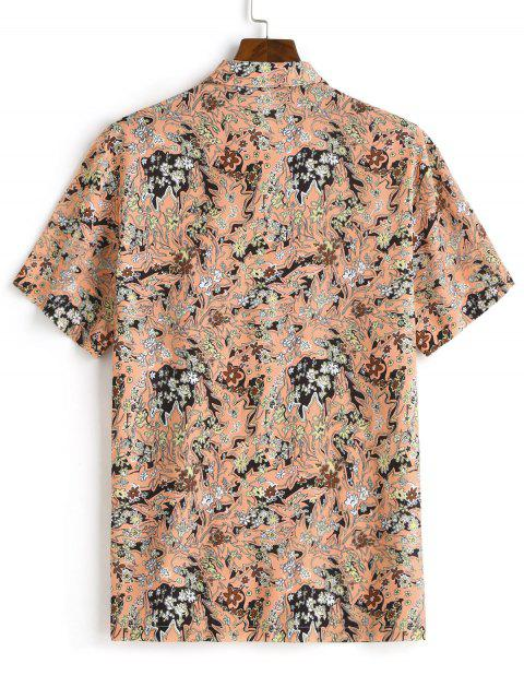 online Floral Allover Print Short Sleeve Button Shirt - MULTI-A S Mobile