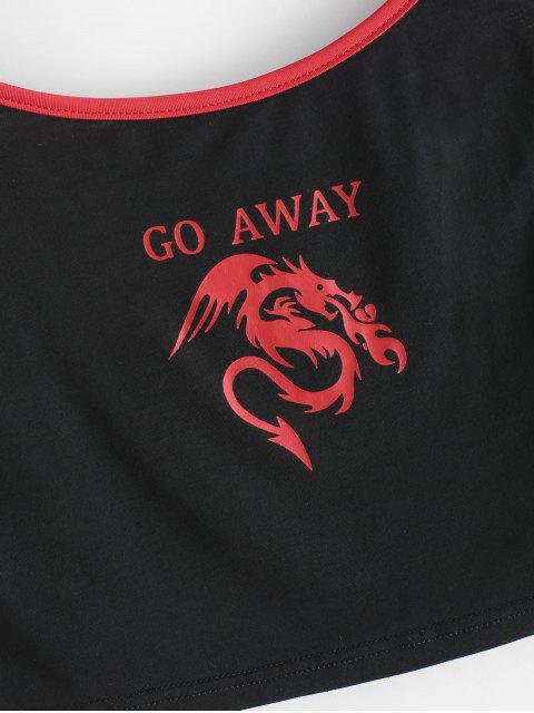 ZAFUL Camiseta Gráfico do Dragão Cortado - Preto XL Mobile