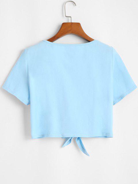 ZAFUL Camiseta Recortada con Nudo de Color Sólido - Azul Marino M Mobile