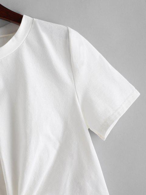ZAFUL Einfarbige Verdrehte Hem T-Shirt - Weiß L Mobile