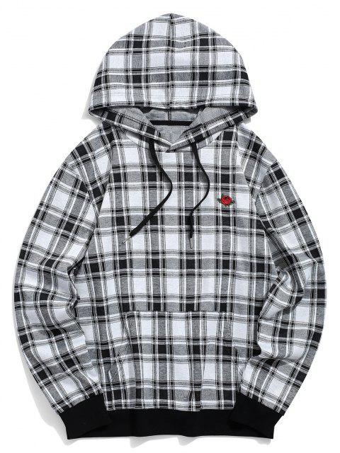 Plaid Pattern Floral Embroidered Pocket Hoodie - أسود S Mobile