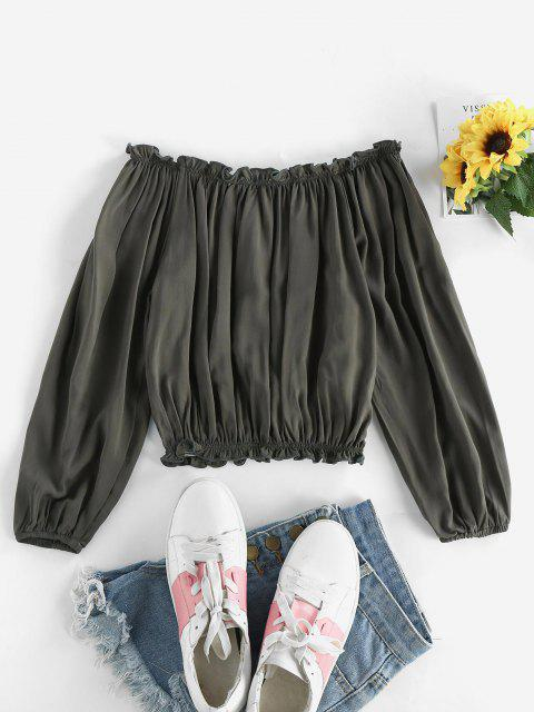 best Ruffles Off Shoulder Cropped Blouse - ARMY GREEN ONE SIZE Mobile