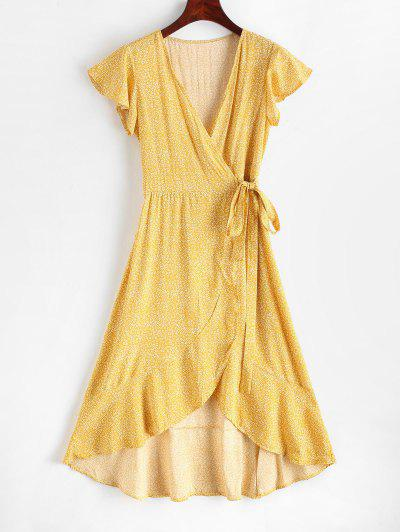 Robe Mi-Longue Fleurie Imprimée Ourlet à Volants - Jaune S