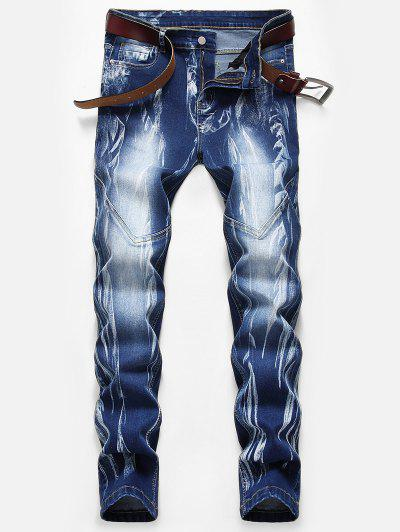 Stitching Design Print Zipper Fly Jeans - Denim Dark Blue 32