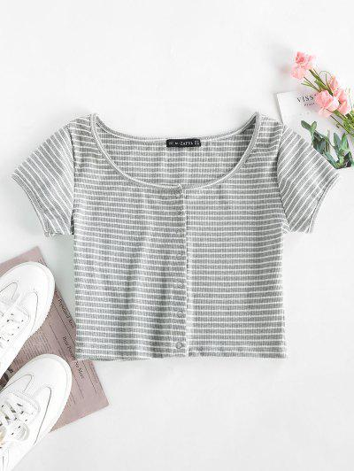 Striped Ribbed Crop Top - Gray S