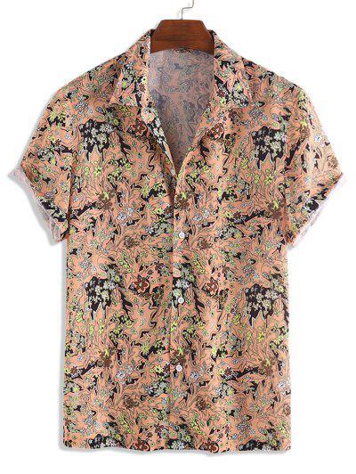 Camisa Flocada Floral Manga Corta Botones - Multicolor-a L
