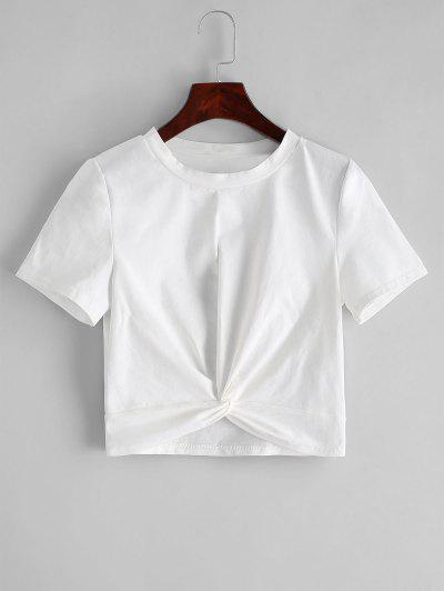 ZAFUL Solid Twist Hem Cropped Tee - White S