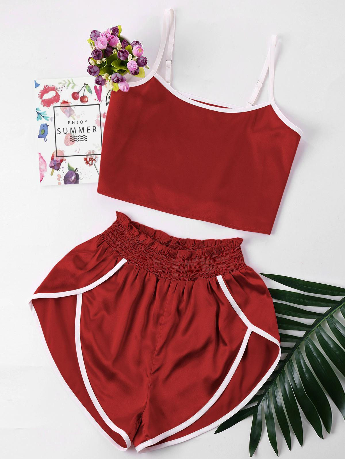Contrast Trim Cami and Shorts Set фото
