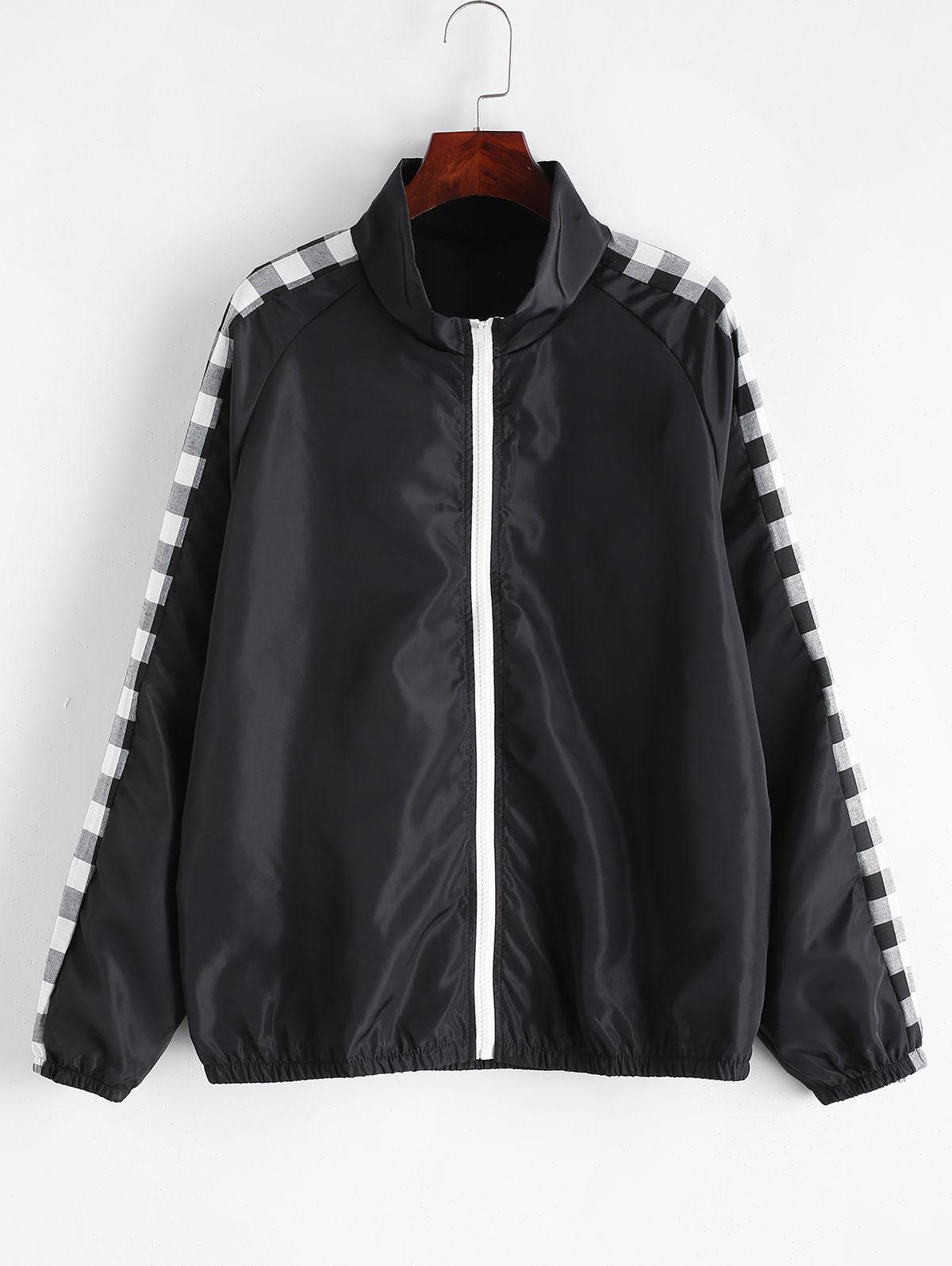 Plaid Sleeve Zip Front Windbreaker Jacket