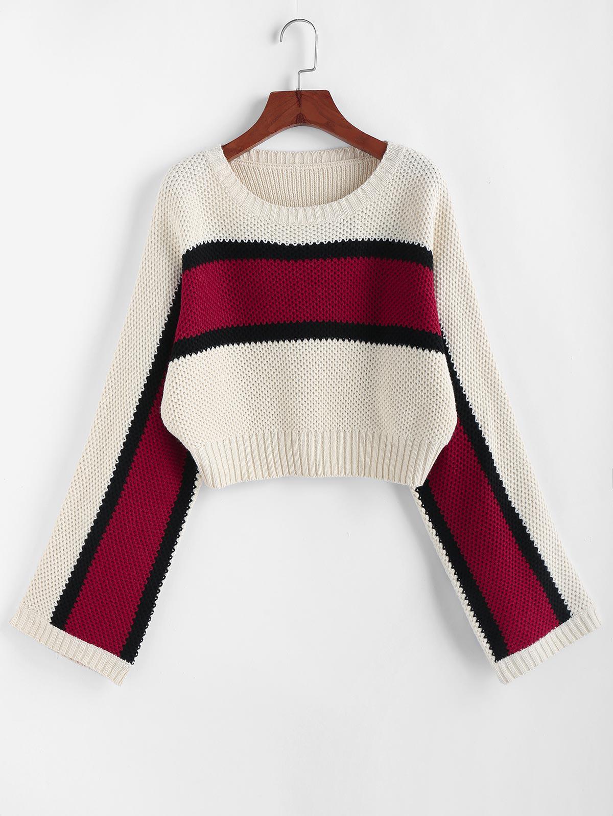 ZAFUL Color Blocking Raglan Sleeve Crop Sweater