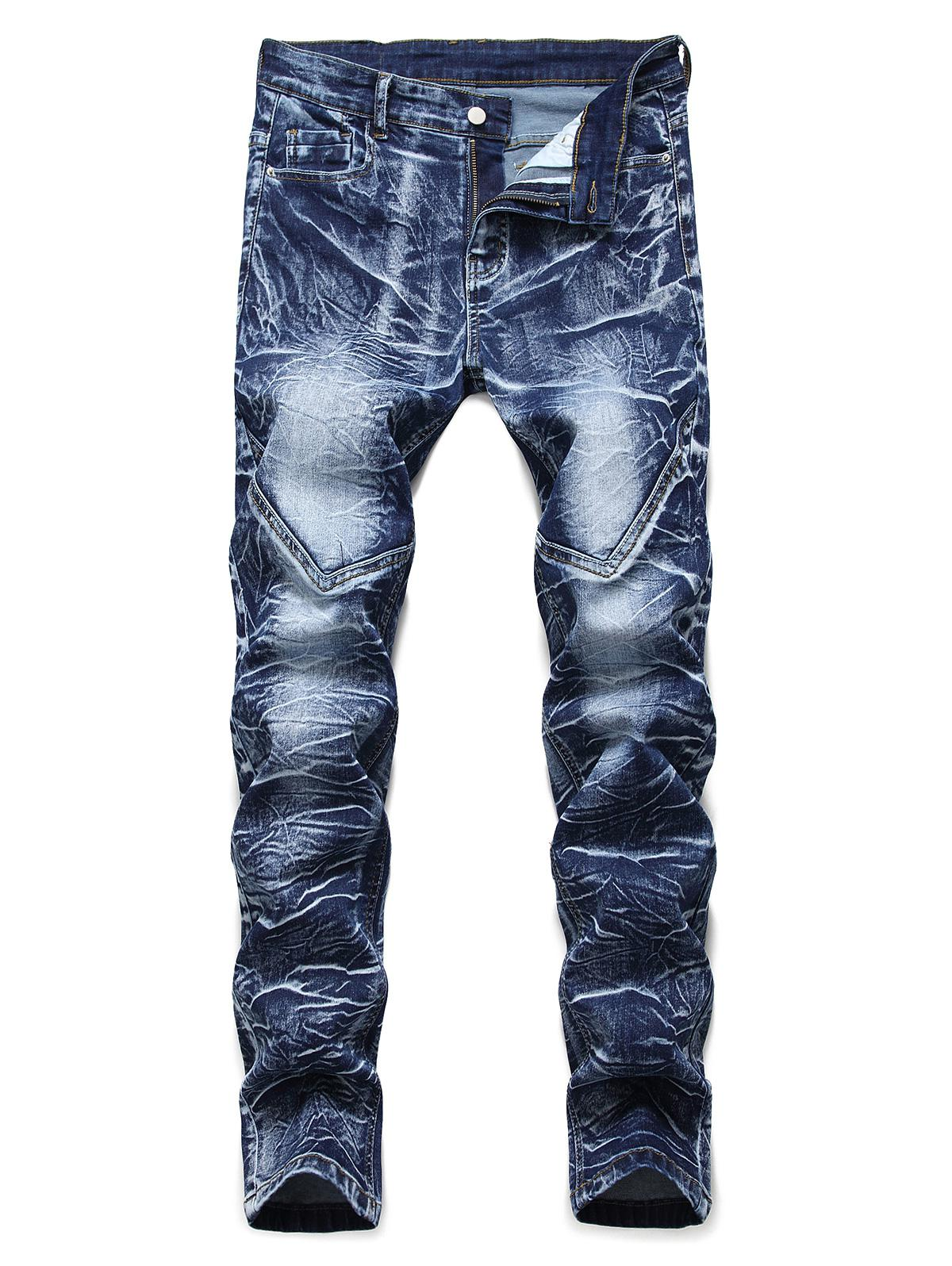 Casual Printed Zip Fly Jeans фото
