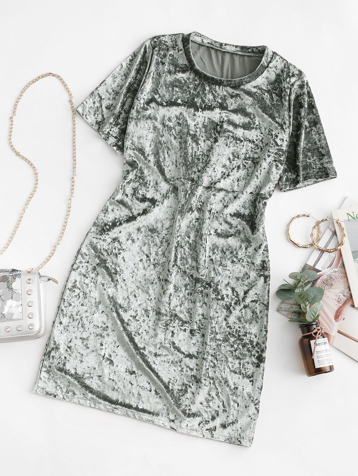 Velvet Short Sleeve Tee Dress