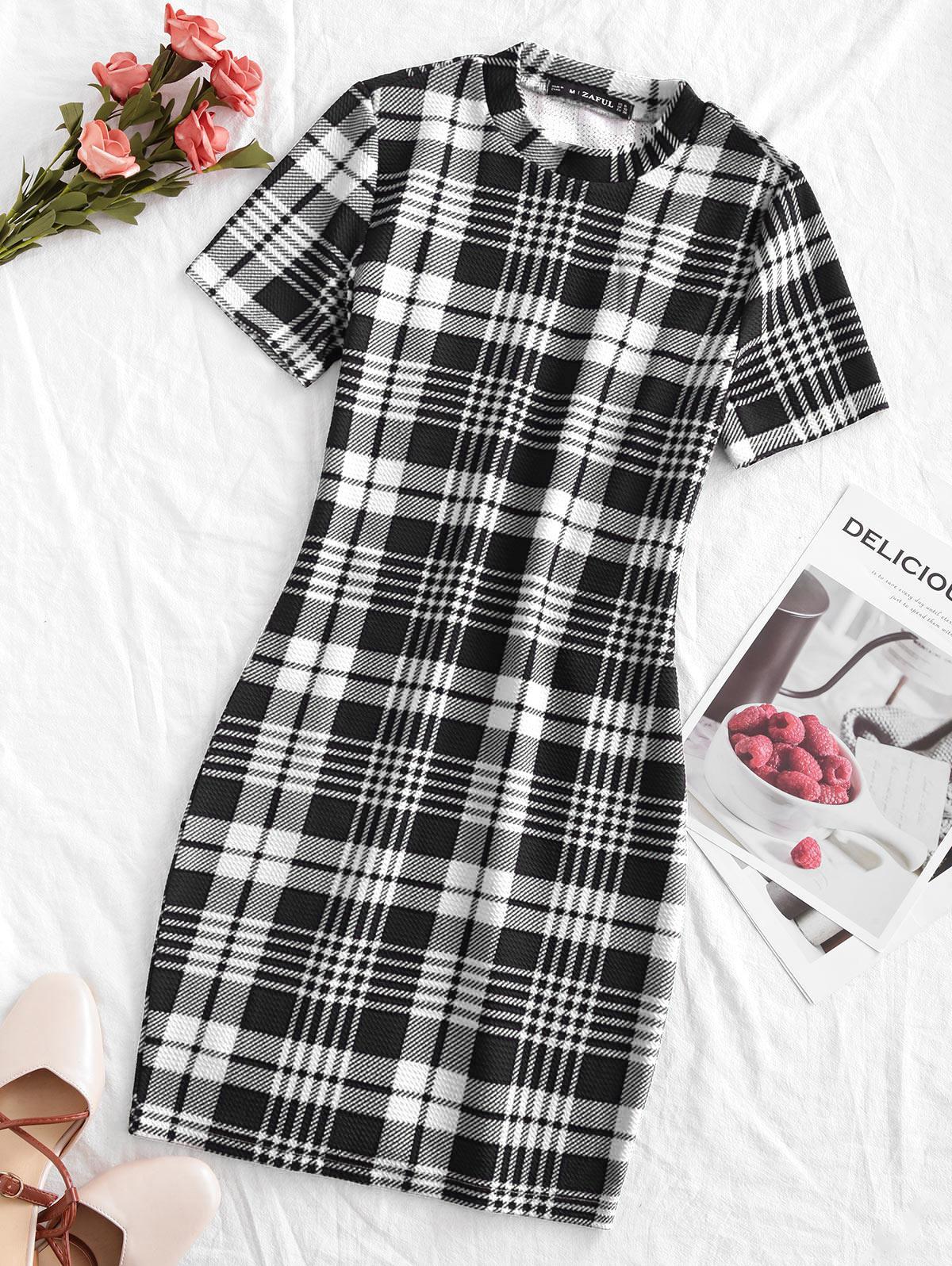 ZAFUL Houndstooth Plaid Mini Bodycon Dress