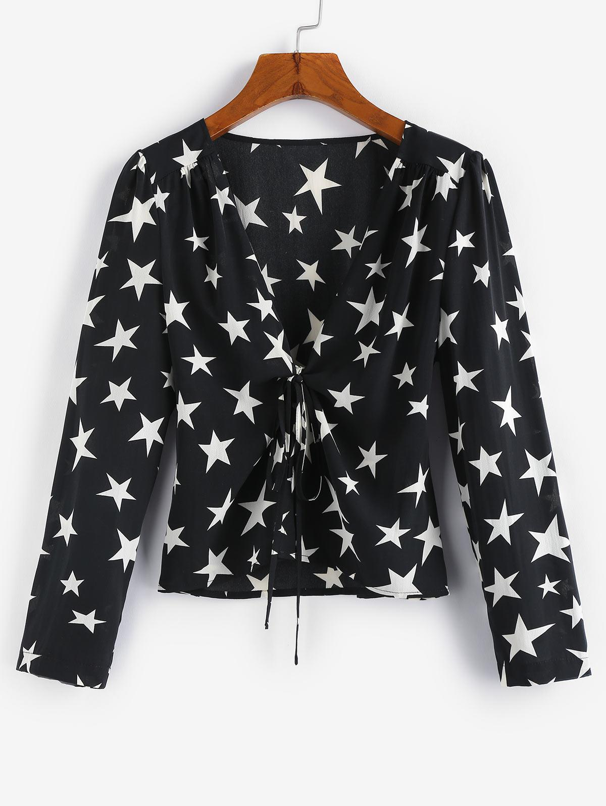 ZAFUL Star Print Tie Front Top