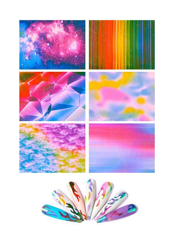 6Pcs Laser Magic Flame Nail Stickers thumbnail