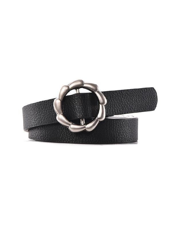 Flower Buckle PU Leather Waist Belt