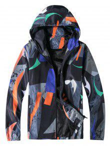 Casual Printed Zip Hooded Jacket
