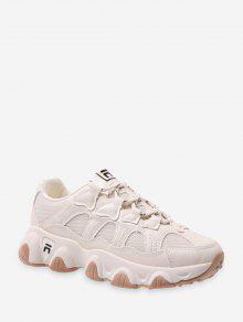 شبكة لوحة جلدية أعلى منخفض أبي حذاء رياضة - اللون البيج الاتحاد الأوروبي 39