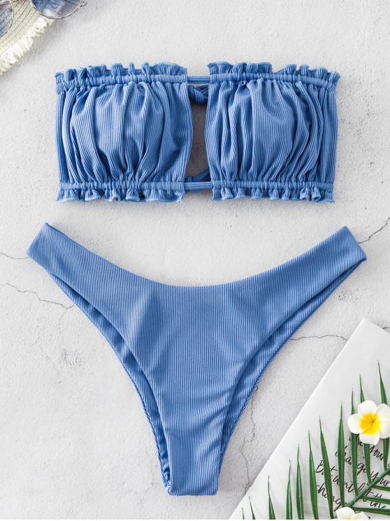 affordable ZAFUL Ribbed Tie Cutout Bandeau Bikini Swimsuit - SILK BLUE M