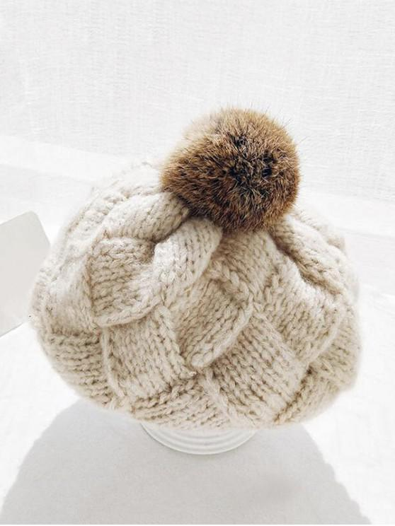 منقوشة الكرة الشتاء محبوك قبعة - اللون البيج