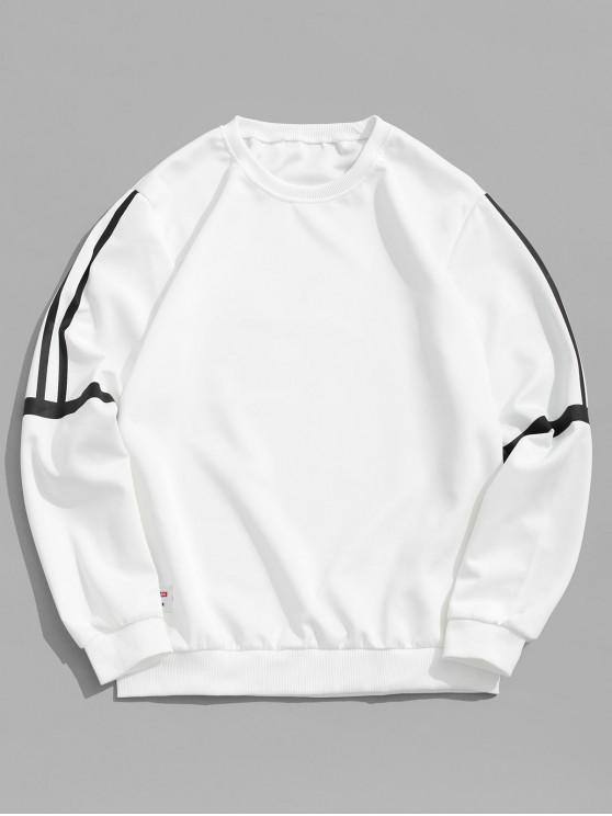fancy Striped Print Applique Casual Sweatshirt - WHITE XS