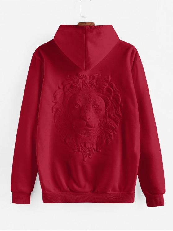 fashion Lion Embossed Kangaroo Pocket Hoodie - CHERRY RED ONE SIZE