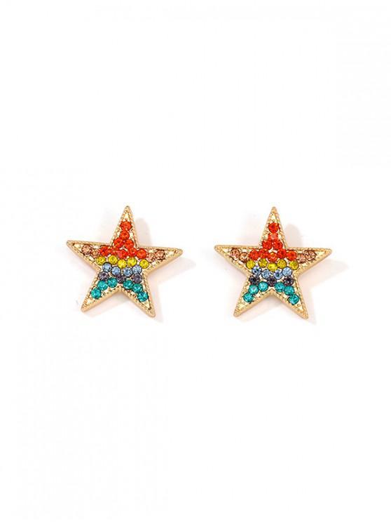 new Rainbow Color Rhinestone Star Earrings - MULTI
