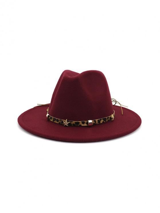 online Leopard Star Flat Brim Fedoras Hat - RED WINE