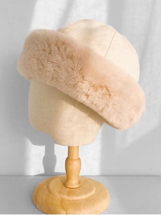 فو الفراء في فصل الشتاء قبعة دلو - اللون البيج